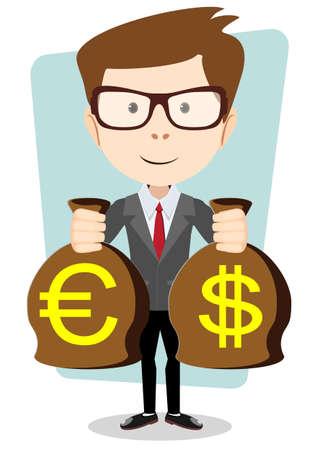 bestechung: Gesch�ftsmann mit einem Sack voll Gold-Bargeld-Dollar. Vector Illustration