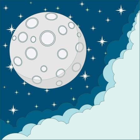 Vector Cartoon moon with space for text in the clouds Vector
