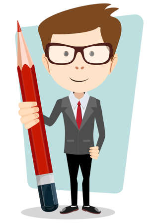 scheduling: Businessman in jacket with a big red pencil Illustration