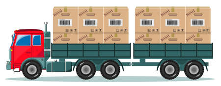 Delivery: Red Truck With Large Wheels And Cargo Boxes on Trailer, The Load In The Form Of Boxes, Stock Vector Illustration Illustration
