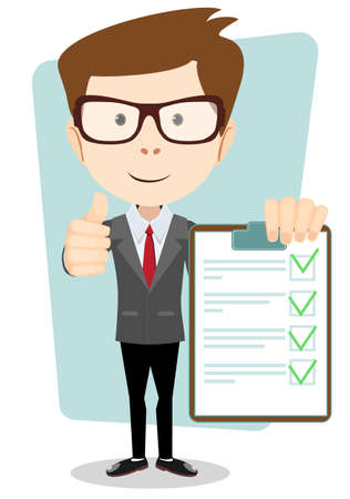 task list: Businessman Hipster  Holding a Paper With Green Flags, Vector