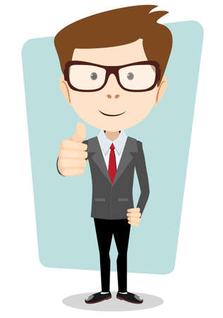 Smiling and winking cartoon business man giving the thumbs up. Vector