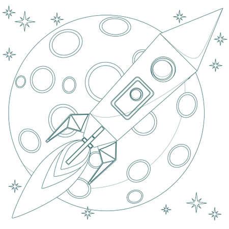 Rakete im Himmel mit Mond Hintergrundschleife Standard-Bild - 33513053