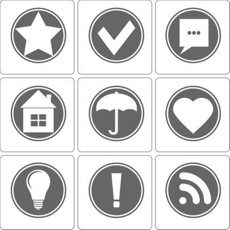 Simple Monochrome Icons Vector