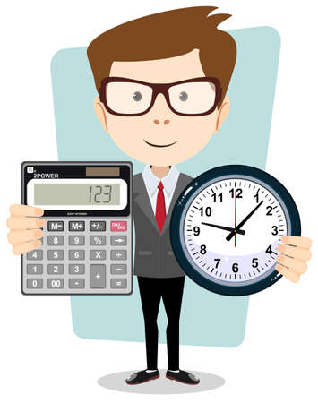 cartoon businessman with a big calculator and clock in his hands. Vettoriali