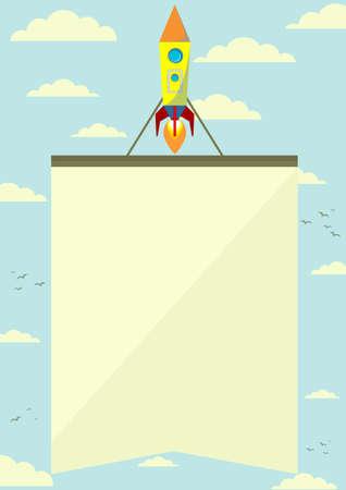 booster: Cohete espacial con una bandera que vuela hacia arriba, ilustraci�n vectorial