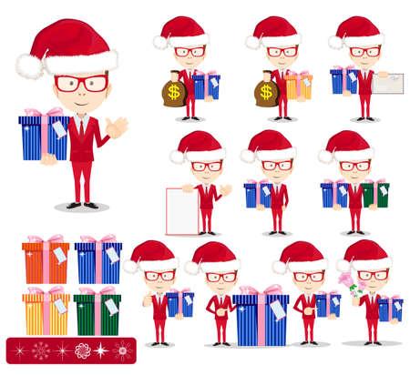 Santa Man with Gifts, Vector set Vector