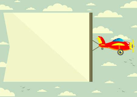 Plane with Banner, Illustration