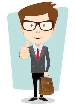 Smiling winking cartoon business man in a jacket giving the thumbs up with briefcase.
