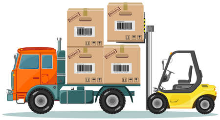 Loader Sinker Boxes in the Truck, Vector Illustration Illustration