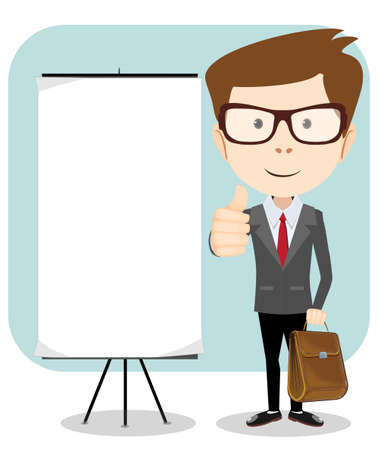 cool people: Vector illustration of a cartoon businessman holding blank message board.