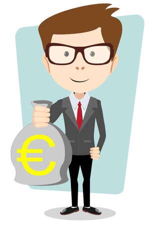 bestechung: Gesch�ftsmann oder Bankier mit einem Sack voll Gold Bargeld Euro. Vector Illustration