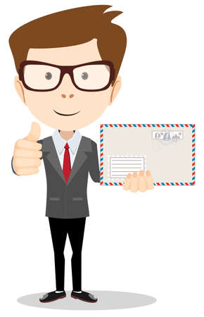 mailer: Office worker holding huge mailer envelope  giving the thumbs up and friendly smiling