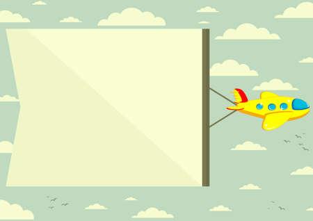 Plane with banner, vector illustration Vettoriali