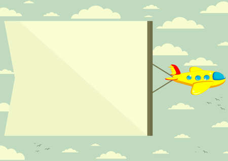 Plane with banner, vector illustration Illustration