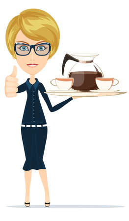 Beautiful Girl Waitress Carries giving the thumbs up with a big Tray Ordered Drinks, Coffee, Tea. Stock Vector illustration Vector