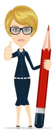 examiner: Smiling cartoon Businesswoman or teacher giving the thumbs up with a big red pencil.Stock Vector illustration