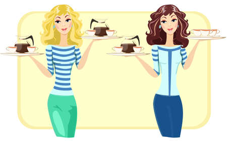 Cute waitress with a tray of tea and coffee in the restaurant, vector illustration Vector