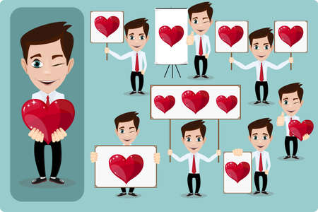heartbreaker: Conjunto de dibujos animados hombre en el amor Vectores