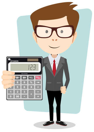 Accountant or manager shows the calculator to work Vectores