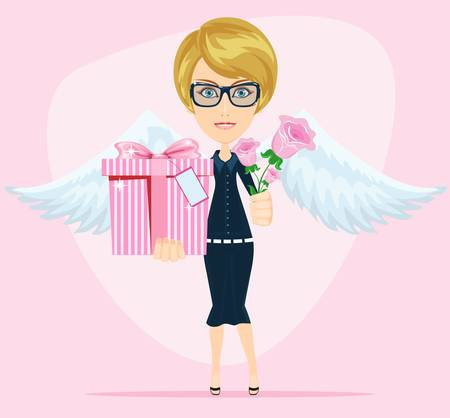 Female angel holding a bouquet of flowers and gifts with beautiful wings congratulates you Vector