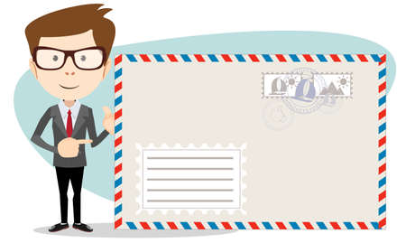 mailer: Office worker stands near a large mailer envelope and friendly smiling