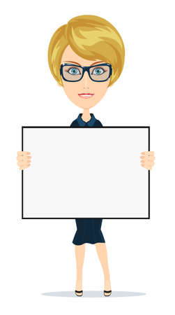 portrait young girl studio: Business woman holding a banner - isolated over white background