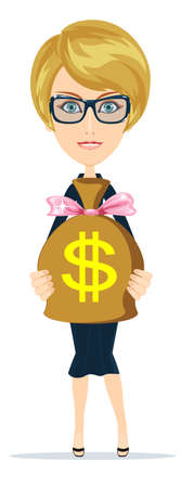 purchasing manager: Successful businesswoman with a Bag of Dollar, Gold Cash. Vector Illustration Illustration