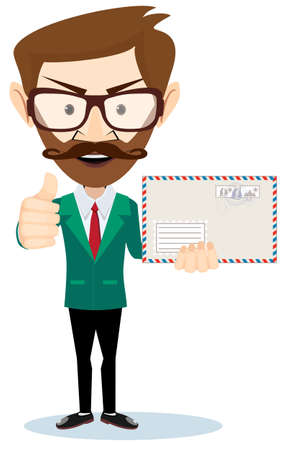 mailer: Office worker holding huge mailer envelope giving the thumbs up and friendly smiling Illustration