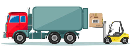 up code: Truck and Loader with Box. Delivery of cargo. Vector illustration