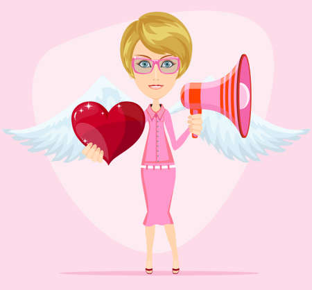 herald: Female messenger angel with beautiful wings gives heart for you