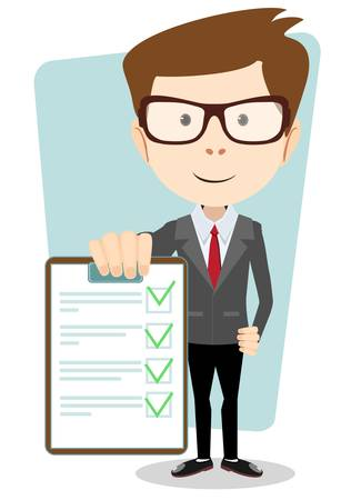 Manager holding the document approved, vector illustration Stock Illustratie