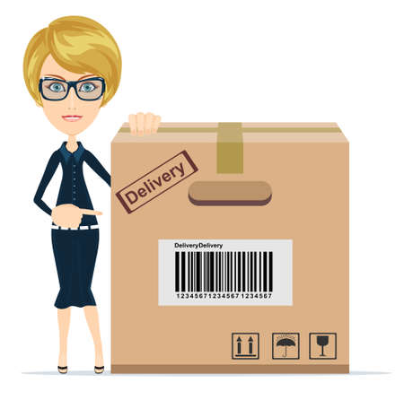 stockpile: Business woman pointing to a large cardboard box. Illustration