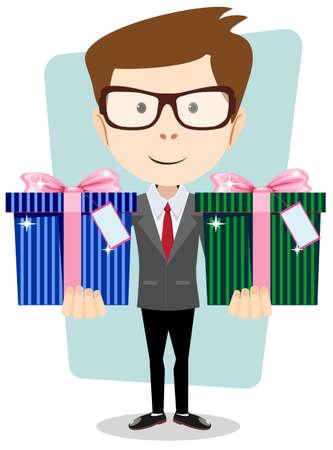 position d amour: Jeune homme d'affaires prosp�re donne deux cadeaux, illustration vectorielle Illustration