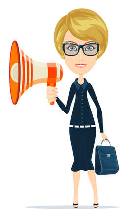 herald: Female messenger negotiator with a loudspeaker horn Illustration