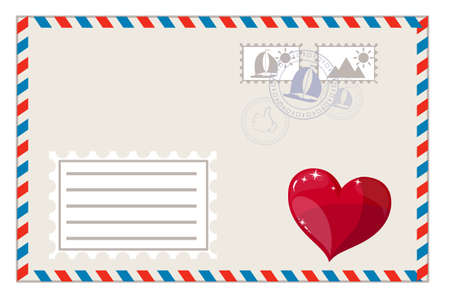 Blank envelope with heart and brands ready to ship illustration Vector