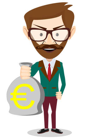 bribery: Successful Businessman or banker with a Bag of Gold Cash Euro. Vector Illustration