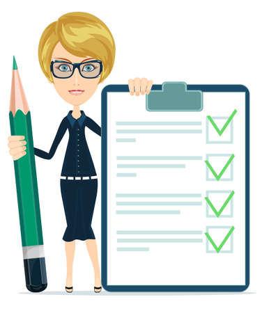 checklist: Businesswoman or Teacher Holding a Paper With Green Flags and big green pencil, Vector