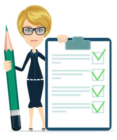 Geschäftsfrau oder Lehrer, die ein Papier mit grünen Flaggen und großen grünen Bleistift, Vektor Standard-Bild - 35790660