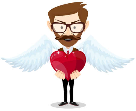 declaring: Young hipster-Man Inspired by Love Keeps the Heart. Vector Illustration Illustration