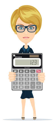 bookkeeper: Successful business woman showing victory sign, holding a calculator Illustration