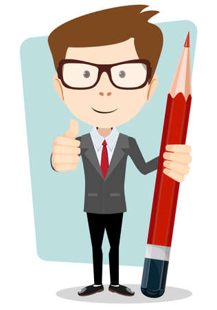 young businessman: Teacher with a pencil to correct and study, vector illustration
