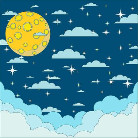 moonrise: Night beautiful moonlit sky, vector illustration