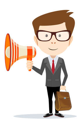 negotiator: Businessman messenger negotiator with a loudspeaker horn