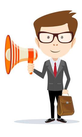 herald: Businessman messenger negotiator with a loudspeaker horn