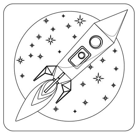 Missile in flight colorless, coloring, vector illustration Vector