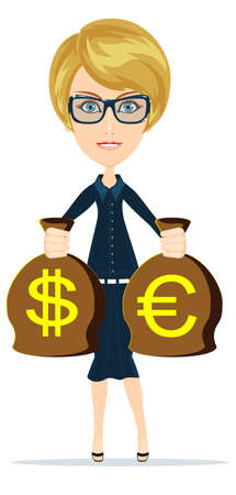 woman holding money: Business woman holding money, vector illustration