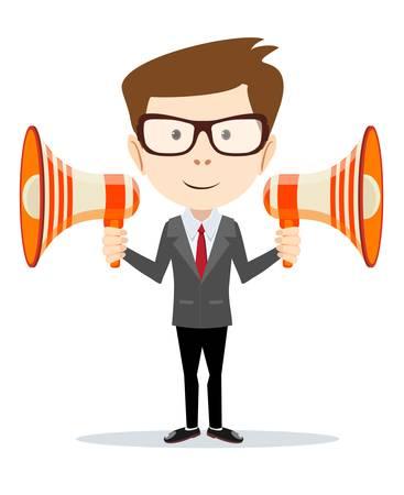 reproduce: Businessman messenger negotiator with a loudspeaker horn