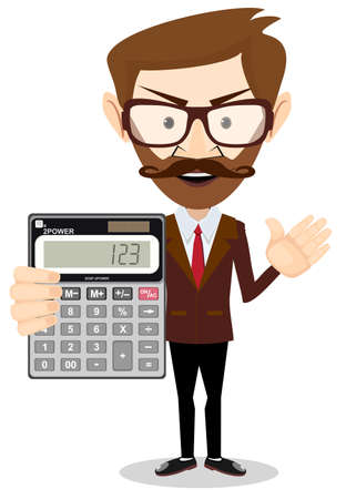 bookkeeper: Businessman or Accountant with a Calculator, Vector Illustration Illustration