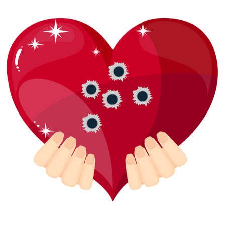 holes: Heart with bullet holes, vector illustration. Illustration